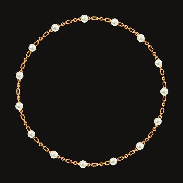 Rond frame gemaakt met gouden ketting en witte parels. Premium Vector