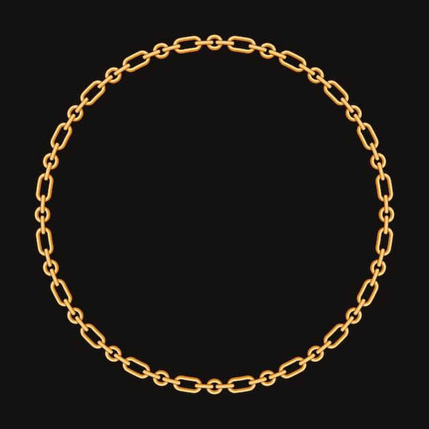 Rond frame gemaakt met gouden ketting. op zwart Premium Vector