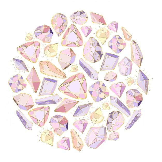 Rond frame, gemaakt van kristallen, edelstenen Premium Vector