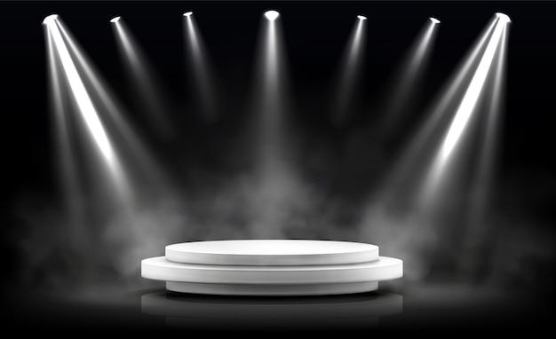 Rond podium, leeg podium verlicht door schijnwerpers. Gratis Vector
