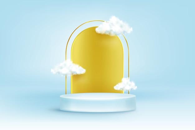 Rond podium met gouden boog en witte wolken Gratis Vector