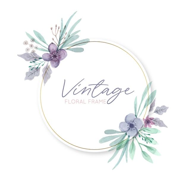 Rond vintage bloemenframe Gratis Vector