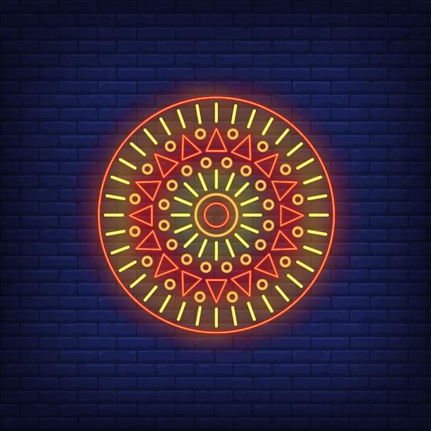 Ronde afrikaanse motief mandala neon teken Gratis Vector