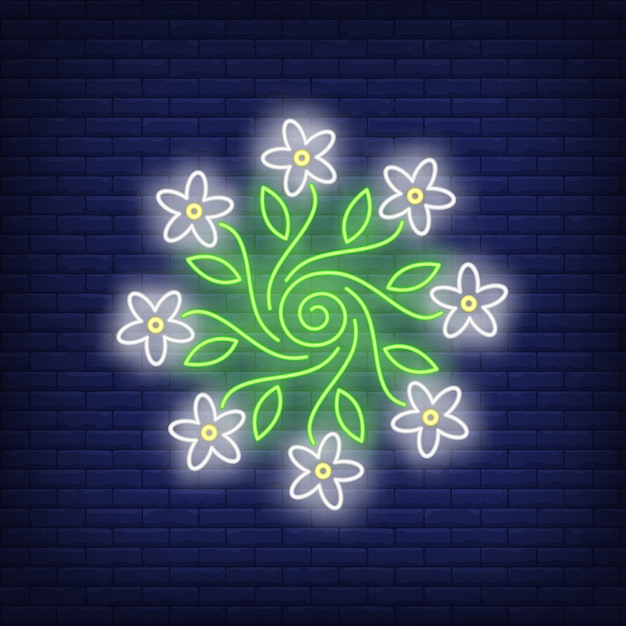 Ronde bloem ornament embleem neon teken Gratis Vector