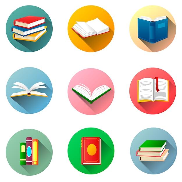 Ronde boeketiketten. aantal boeken geïsoleerd op een witte achtergrond Premium Vector