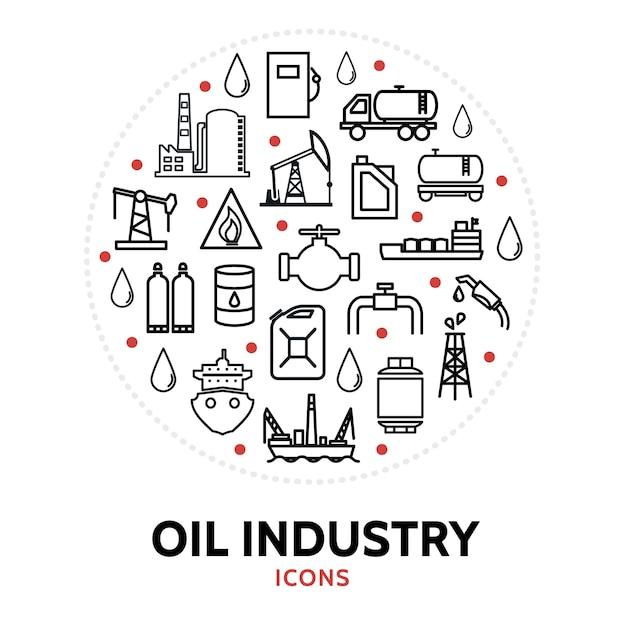 Ronde compositie met elementen uit de olie-industrie Gratis Vector