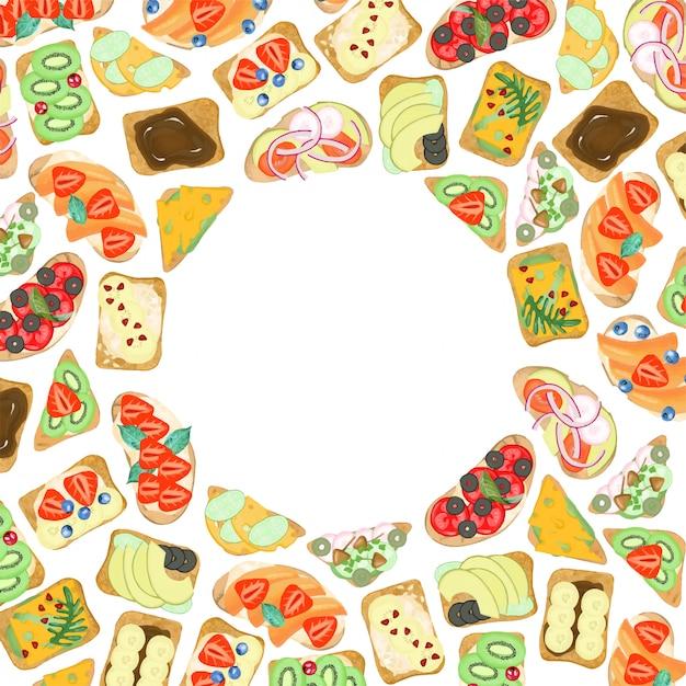 Ronde frame van vegetarische sandwiches met groenten en fruit, met de hand getekend op een witte achtergrond Premium Vector