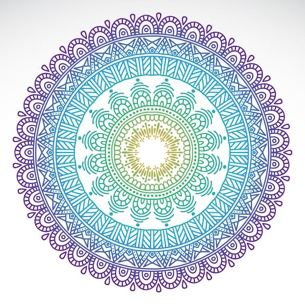 Ronde gradiënt mandala op witte geïsoleerde achtergrond Gratis Vector