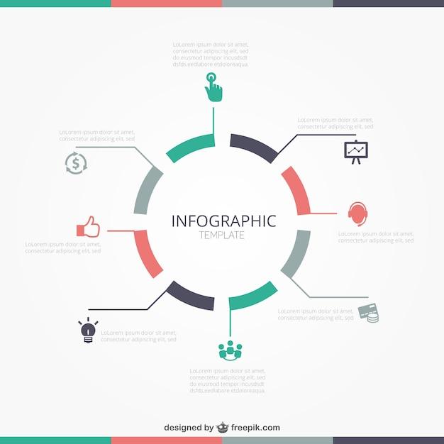 Ronde infographic sjabloon Gratis Vector