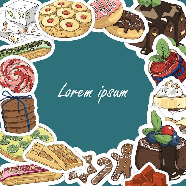 Ronde kaderachtergrond voor tekst van desserts en snoepjes. sjabloon Premium Vector
