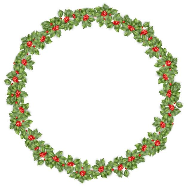 Ronde kerstkrans met hulst takken geïsoleerd op wit. Premium Vector