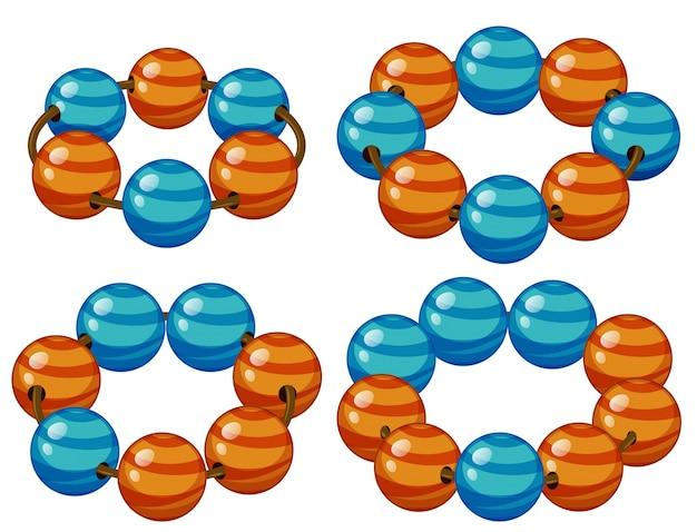 Ronde kralen in blauwe en oranje illustratie Gratis Vector