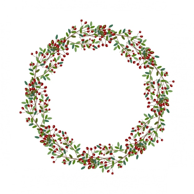 Ronde kroon van kerstmis illustratie Premium Vector