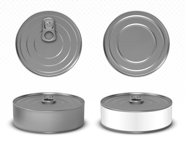 Ronde metalen blikken voor voedsel Gratis Vector