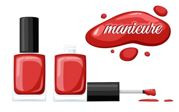 Ronde rode glanzende nagellakfles met zwarte dop. illustratie op witte achtergrond. manicure concept. geopende fles en druppel nagellak. Premium Vector