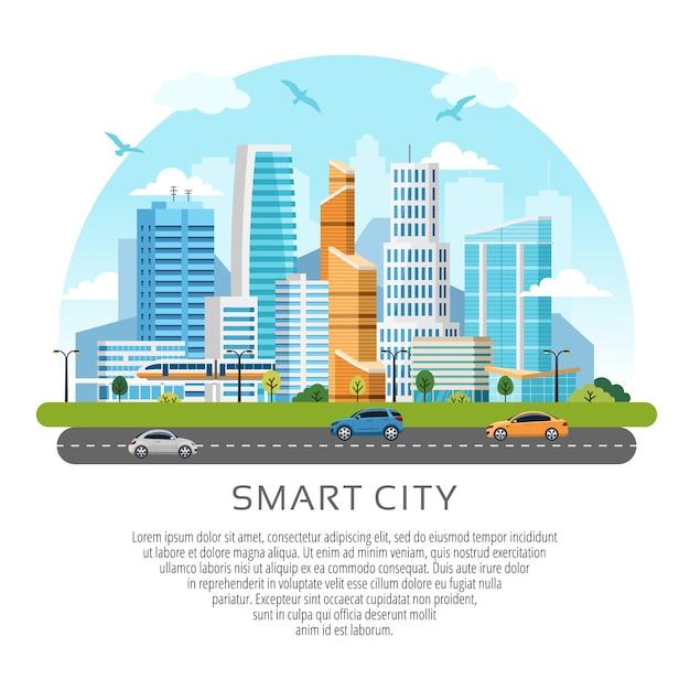 Ronde stijl stad wolkenkrabbers landschap. gebouwen, wolkenkrabbers en transportverkeer Premium Vector