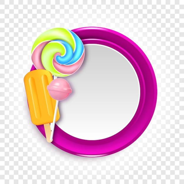 Ronde vectorillustratie met snoepjes, snoepjes en lollies Premium Vector