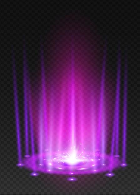 Ronde violette nachtscène van de gloedstralen Premium Vector