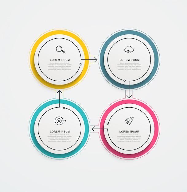Ronde zakelijke infographics met pictogrammen en 4 opties of stappen. Premium Vector