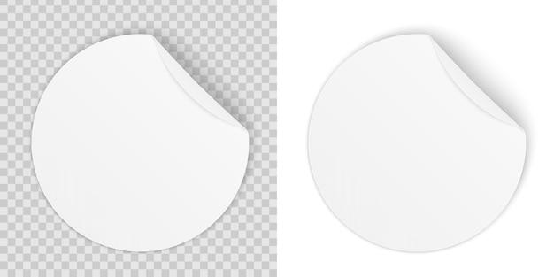 Ronde zelfklevende papieren stickers met gebogen hoek. Premium Vector