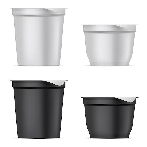 Ronde zilveren witte en zwarte mat plastic potten set Premium Vector
