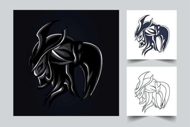 Ronin esport kunstwerk illustratie Premium Vector