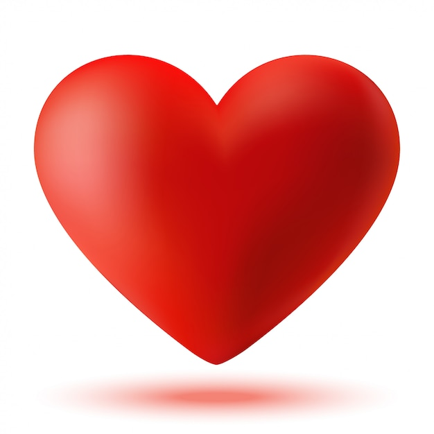 Rood 3d hart Premium Vector