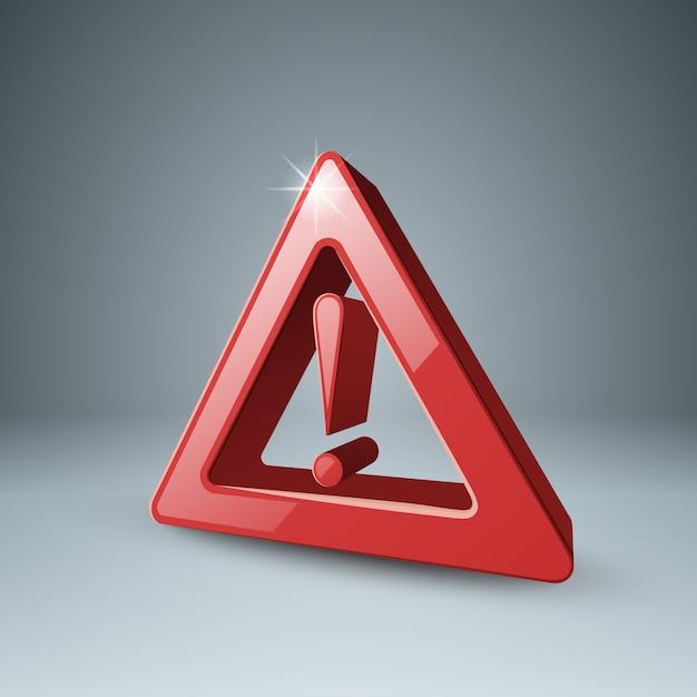 Rood 3d uitroepteken, aandacht, gevaar Premium Vector