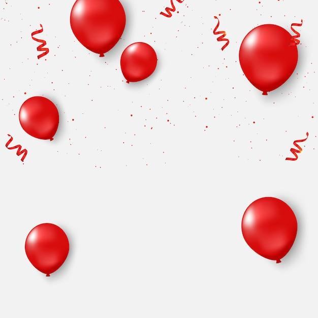 Rood ballonnen confetti conceptontwerp Premium Vector