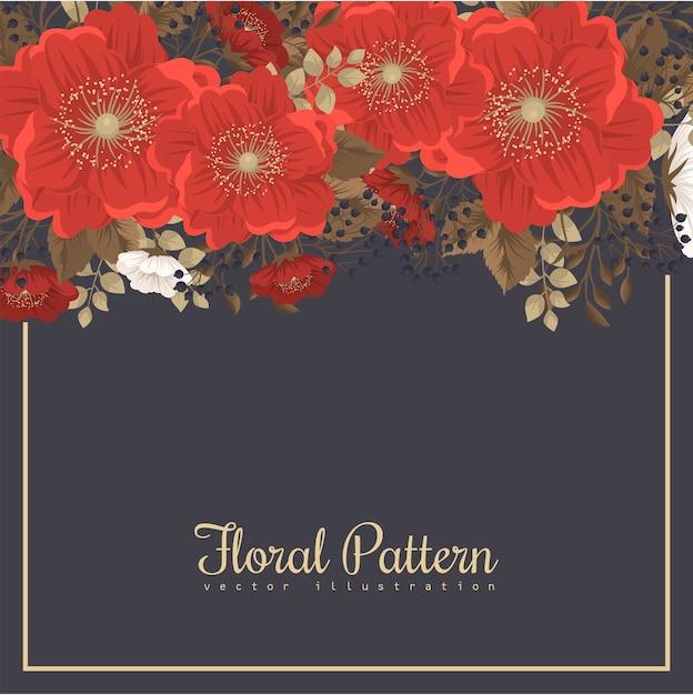 Rood bloemenframe - rode en witte bloemen Gratis Vector