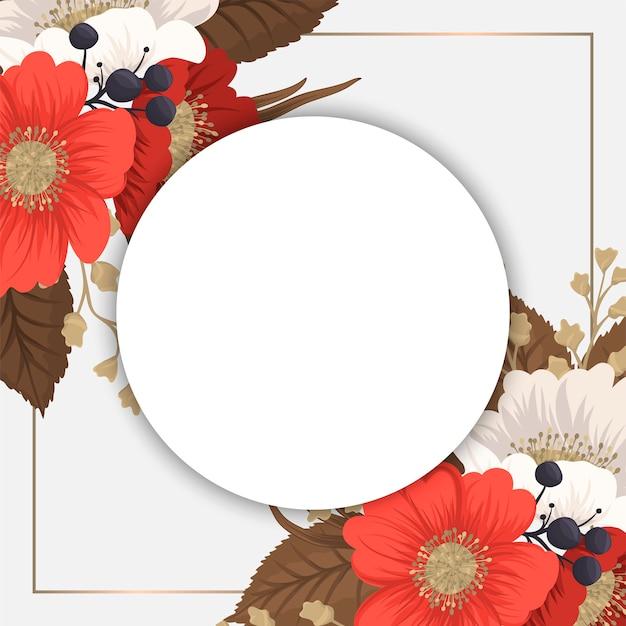Rood bloemenframe - rode en witte cirkelbloemen Gratis Vector