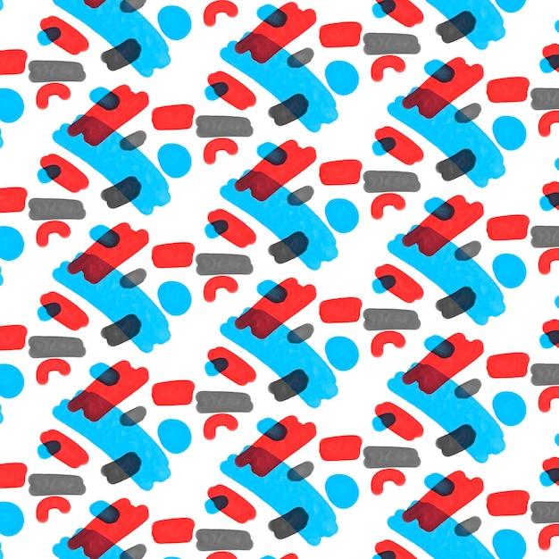Rood en blauw abstract aquarel patroon Gratis Vector