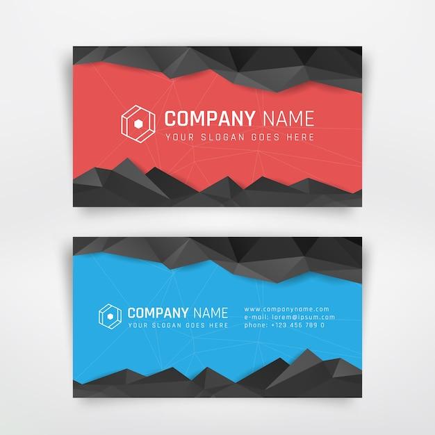 Rood en blauw visitekaartje met abstracte driehoek Premium Vector