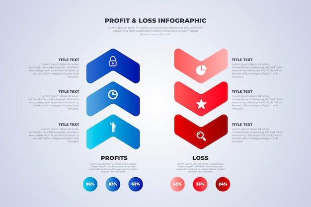 Rood en blauw winst- en verliesrekening infographic sjabloon Gratis Vector
