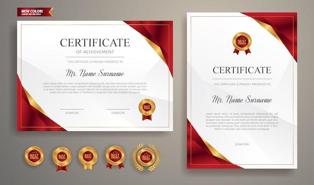 Rood en goud certificaat van waardering met gouden badge en rand sjabloon Premium Vector