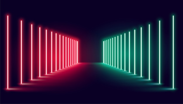 Rood en groen neonlichtstadium Gratis Vector