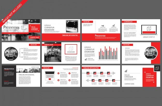 Rood en wit element voor dia infographic op achtergrond. Premium Vector