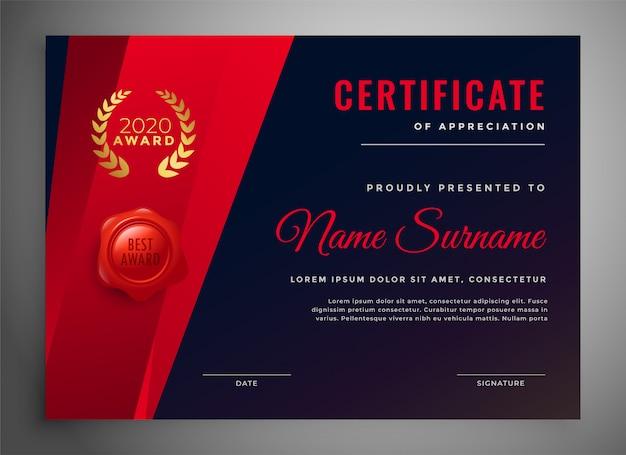 Rood en zwart multifunctioneel certificaatsjabloon Gratis Vector