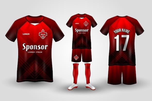 Rood en zwart voetbal uniform Premium Vector