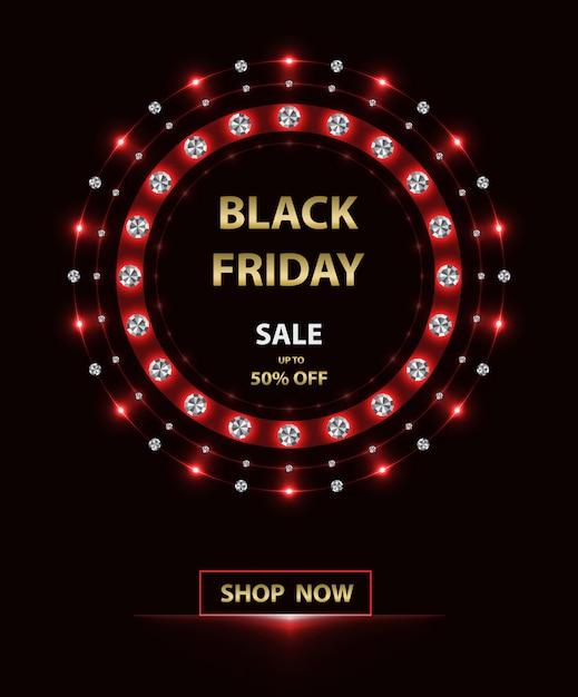 Rood frame black friday-banner Premium Vector