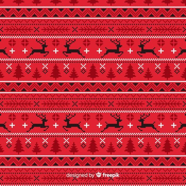 Rood gebreide kerst patroon Gratis Vector
