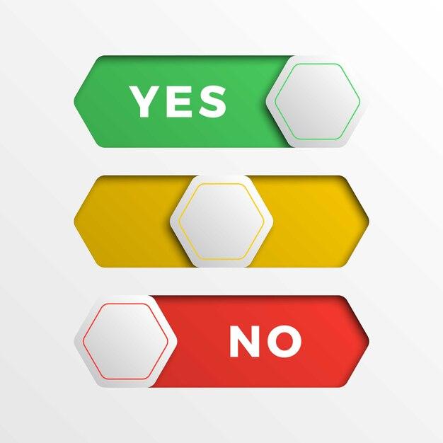 Rood / geel / groen zeshoekige schakelaar interface knoppen. 3d-realistische ja / nee-schuifregelaar Premium Vector