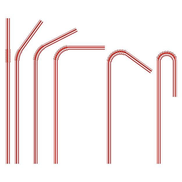 Rood gekleurd, wegwerp plastic rietje Premium Vector