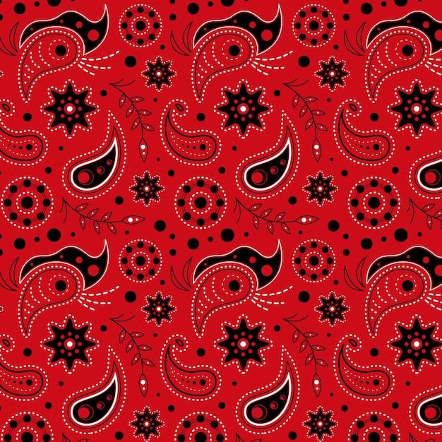 Rood getekend paisley patroon Gratis Vector