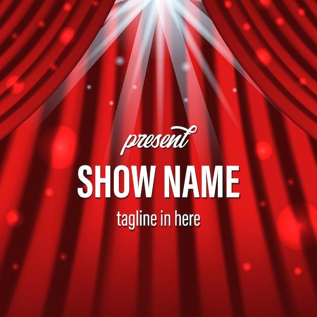 Rood gordijn met verlichting spotlight en titelsjabloon Premium Vector