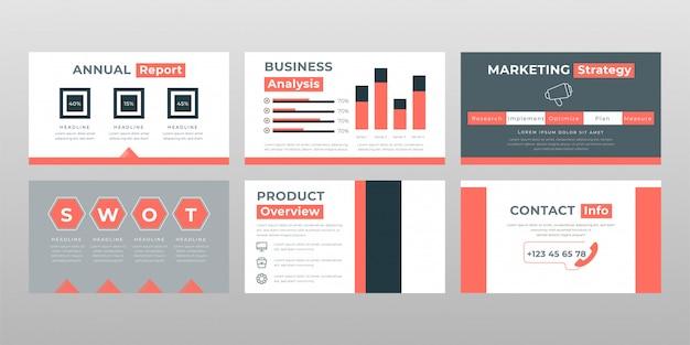 Rood grijs gekleurd swot analyse concept power point presentatie pagina's sjabloon Gratis Vector