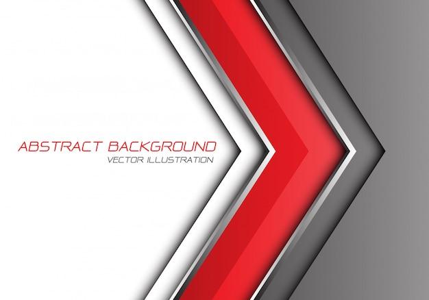 Rood grijs zilver lijn pijl richting witte lege ruimte achtergrond. Premium Vector
