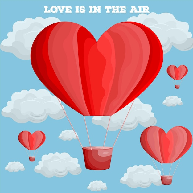 Rood hart luchtballon vector Premium Vector