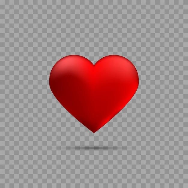 Rood hart met schaduw Premium Vector