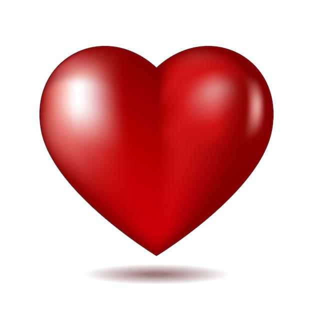 Rood hart pictogram geïsoleerd op wit Premium Vector
